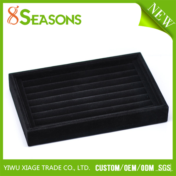 Wholesale Black Rectangle Velveteen Jewelry Rings Display Tray