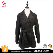 OEM Factory Price New Fashion Women Long Double-Breasted Wool Coat With Belt