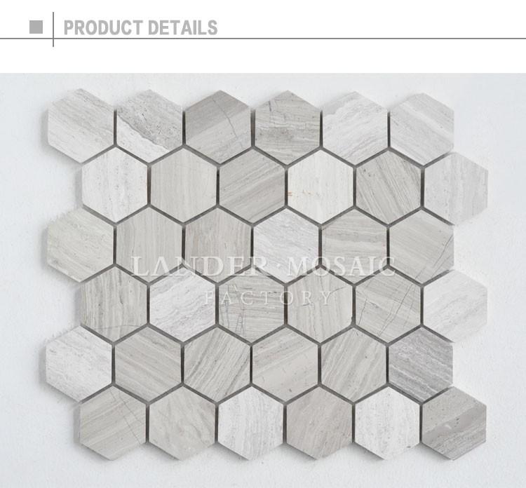 Lander stein 48mm grau holz marmor mosaik hexagonal stein mosaik fliesen f r bad boden buy - Hexagon fliesen ...
