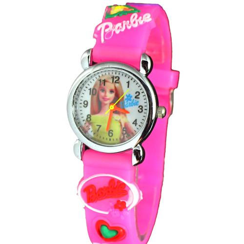 Free Shipping 3D Cartoon hello kitty Barbie princess pink doll Watch Children Kids Girls Boys Students Quartz Wristwatches.
