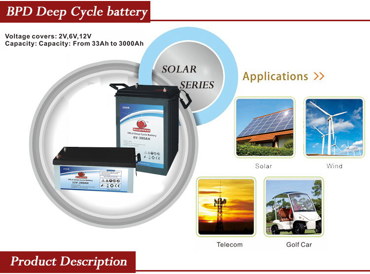 China Supplier 12Volt standby power battery pack 12v 200ah deep cycle solar battery