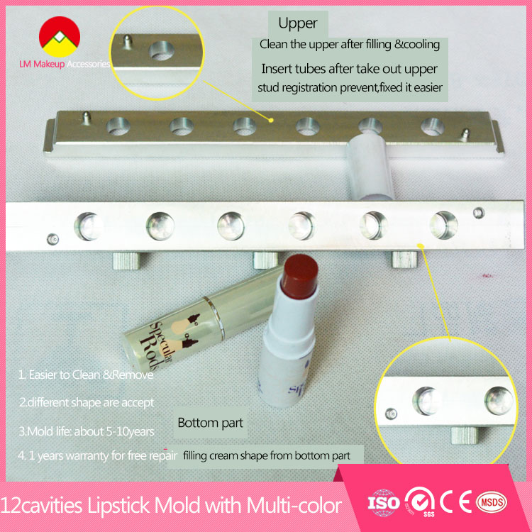 Cosmetic Bald pen shape 12 cavity <strong>molds</strong> for lipstick 12.1mm cup size