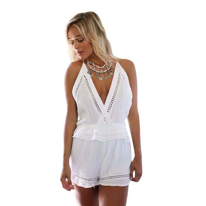 1b53b9305e3 New 2015 Women Jumpsuits Rompers White Sleeveless Rompers Womens Jumpsuit  Sexy Deep V Mini .