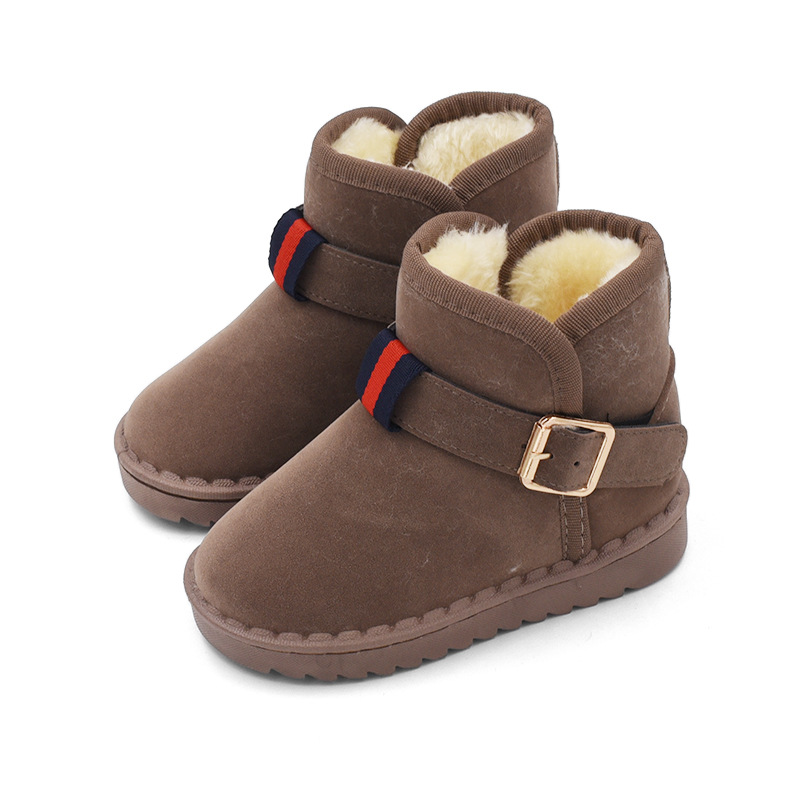 3df5cfac3 Осень Зима Новая детская обувь Плюшевые Подкладка обувь для девочек  мальчиков модные зимние сапоги