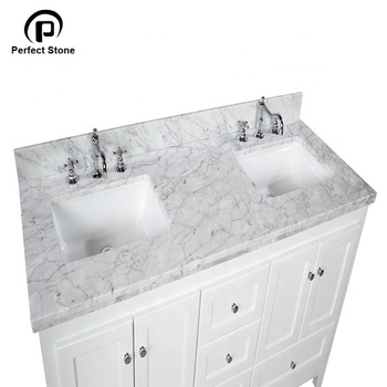 "60"" double Carrara white marble veneer with cabinet basin in xiamen for home decor"