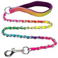 Rainbow Stainless Steel Metal Dogs Chain Leash with Nylon handle