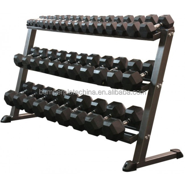 Dumbbell Set And Rack For Sale: China Fitness Equipment 3 Layer Dumbbell Rack