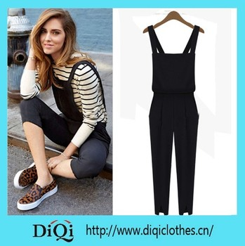 5d344681079b new fashion black overall pants ladies bodysuit women jumpsuit women rompers