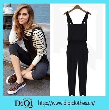5d344681079b new fashion black overall pants ladies bodysuit women jumpsuit women rompers