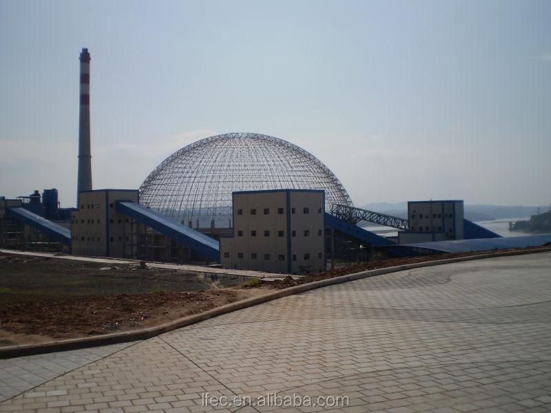 Light steel structure space frame for dome coal shed