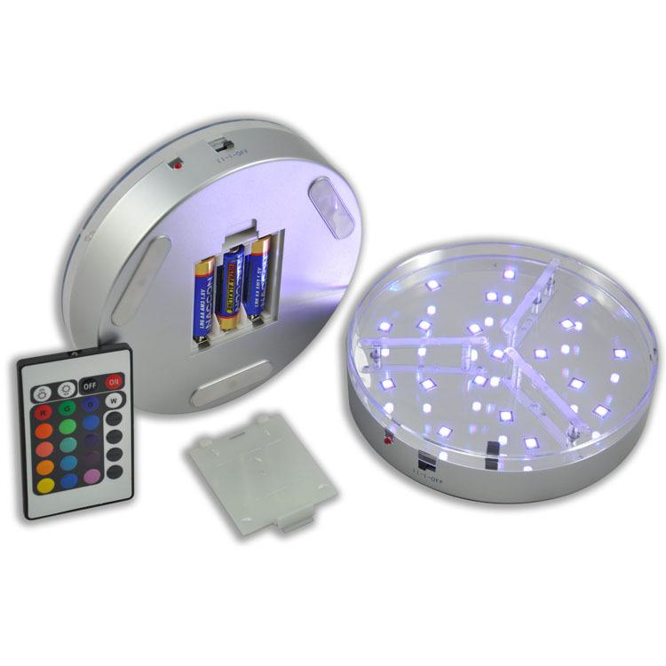 Дюймов 6 дюймов RGB 19 светодиодов светящаяся основа свет Красочные Круглый Стенд база для коктейль Кристалл стекло прозрачные объекты дисплей