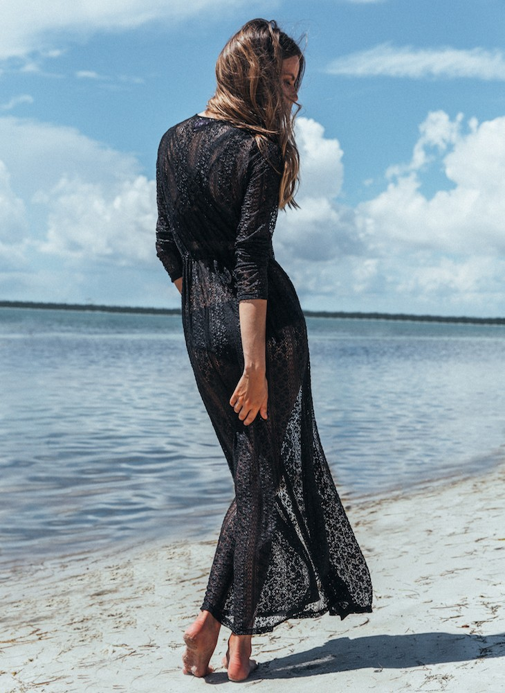 Women Sexy Long Lace Dress Sheer Gown See Through  Kimono Swimsuit Cover Up