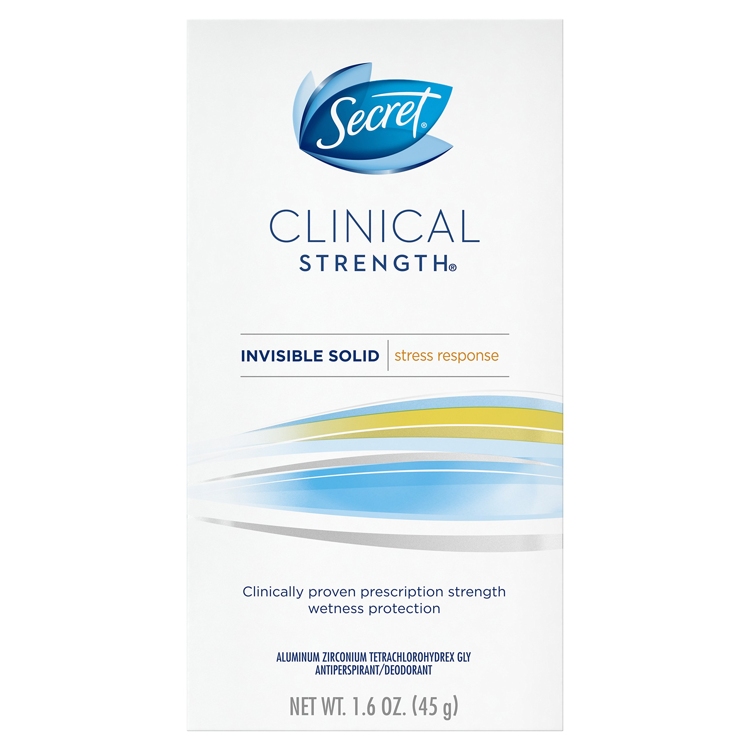 Secret Clinical Strength  Antiperspirant and Deodorant Invisible Solid, Stress Response, 1.6 Oz.  Packaging may Vary