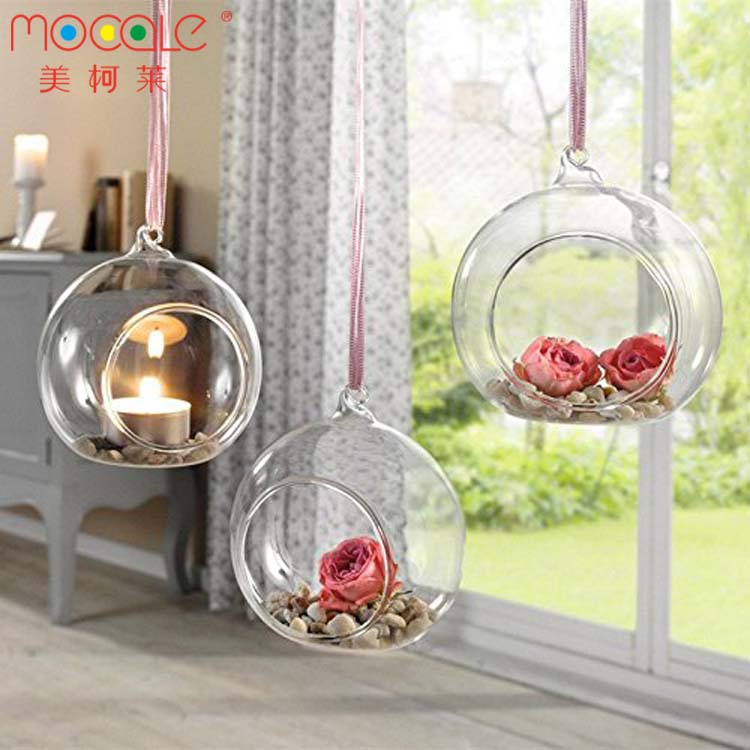 Clear Hanging Glass Tealight Holder Glass Vase For Wedding Decor