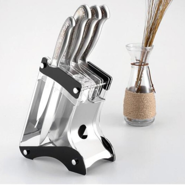 Kitchen Knife Block Stand Holder Acrylic & Stainless Steel