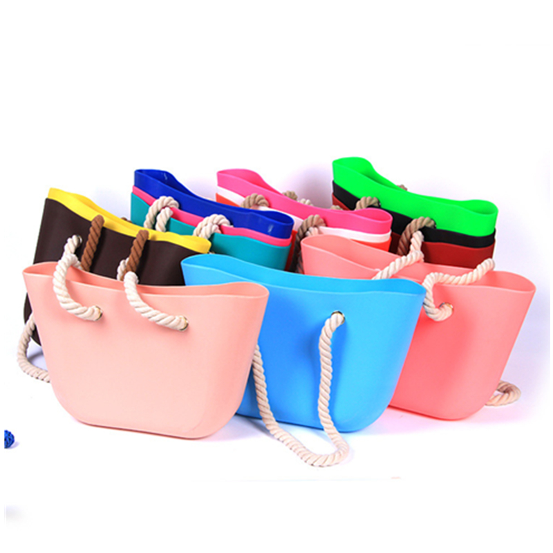 Custom Big New Trendy Lady Silicone Handbag Silicon Bag For Rope