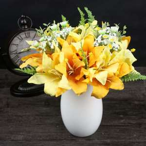 Promotion designs new natural cheap artificial lily flowers in vase