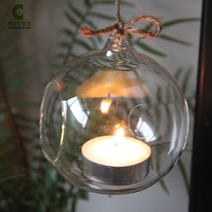 8cm Glass globe Hanging Tealight Candle Holder