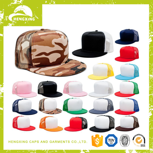 wholesale custom high quality Flat Bill Blank Plain camo blank trucker hats