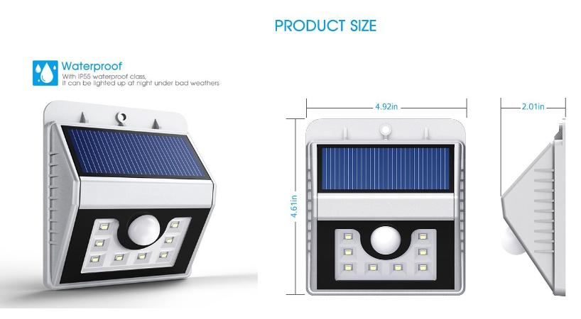 Black Outdoor Solar Powered 8 Led Security Light Motion Sensor ...