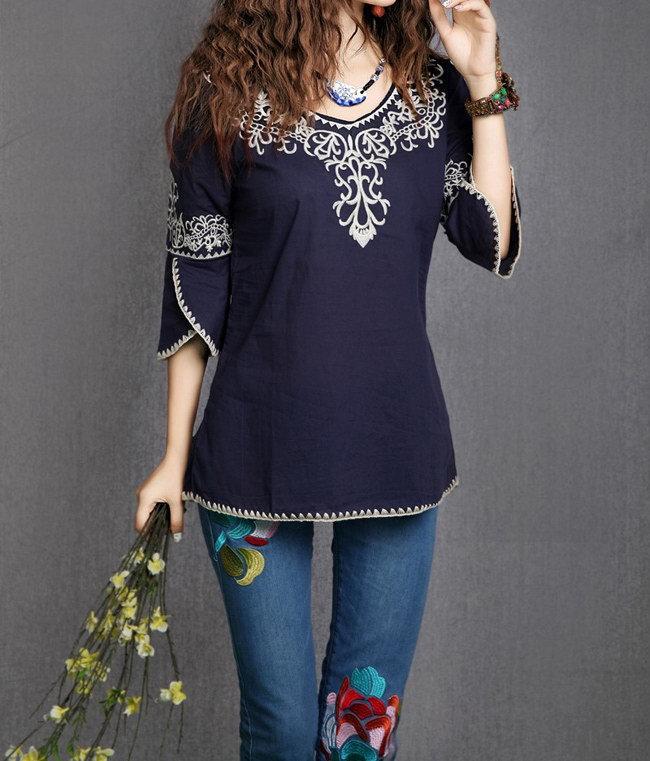 Blusas Femininas воротник-хомут этнический тотем узор вышитая кайма женщины топы дамы блузы рубашки camisa ropa mujer