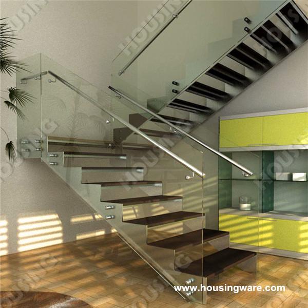 l forma escalera con largueros dobles y seguro templado barandilla