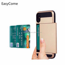 TPU+PC credit card cash holder wallet case for Iphone 6 7 8 x Multi function Purse Slot Credit Card Slot