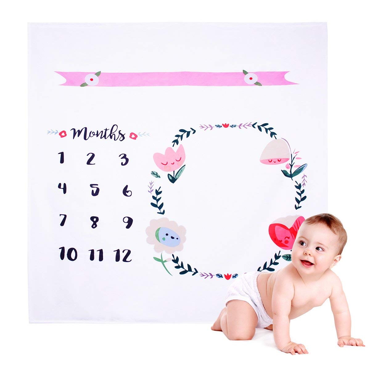 YoungRich Baby Blanket Monthly Milestone Blanket Photo Prop Set Shoots Flowers Backdrop Leaf-like Frame Prop Reusable Beautiful Infant Baby Swaddling Blanket for Photography 1 x 1m/40 x 40inch