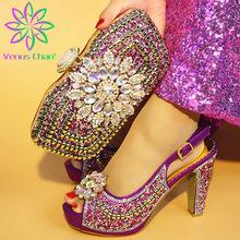 Фиолетовые женские туфли-лодочки и сумка в комплекте, комплект из обуви и сумки в африканском стиле, большие размеры 38-42, 2019(Китай)