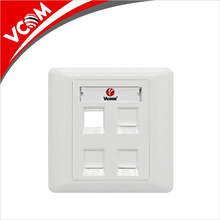 China Vcom High Quality Network 86 type wall Mounted plate 4 Ports Rj45 cat5e cat6 Faceplate
