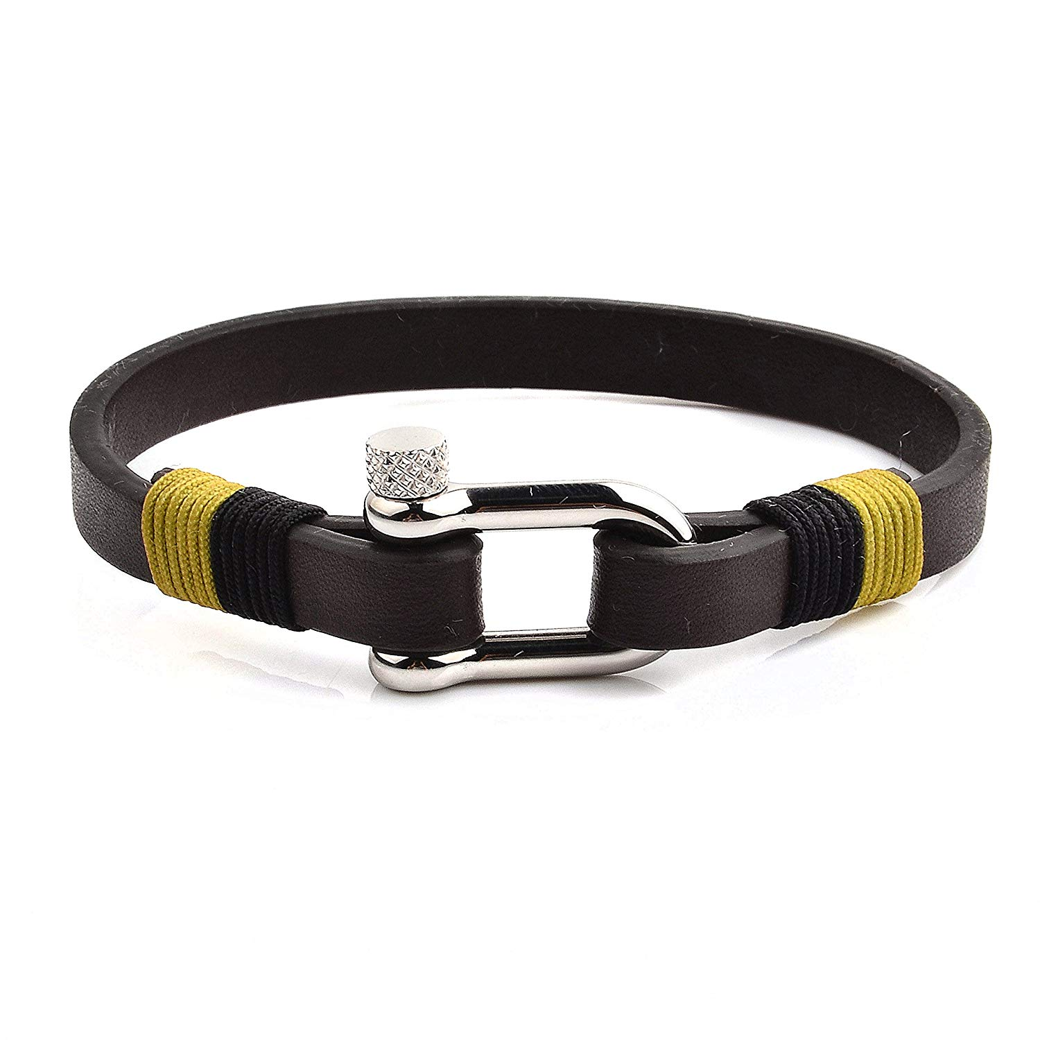 0cc89d788 Crucible Brown Flat Leather Stainless Steel Screw Clasp Bracelet (8mm Wide)  - 8.5 Inches