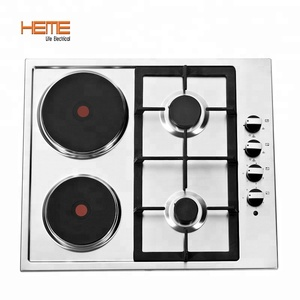 Stainless steel panel gas hob, 4 gas burner+1 electric hot plate gas cooktop PGER6042S-A1CI