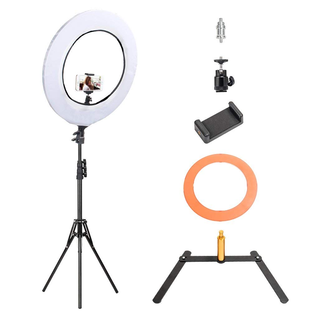 "10 in 1 Zomei 14-inch Dimmable LED Light Ring Kit with 63"" Stand Tripod, Boom Studio Scissor Arm Stand, White Diffuser Cloth for Makeup Photography Videography YouTube Facebook10 in 1 Zomei 14-inch Di"