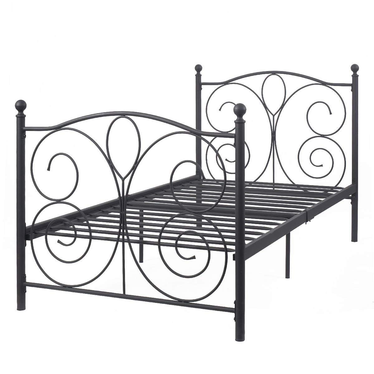 "Twin Size Bed Frame Black Steel Metal Bed Platform Foundation Sturdy and Durable Furniture New 83""x43""x42"" by madamecoffee"