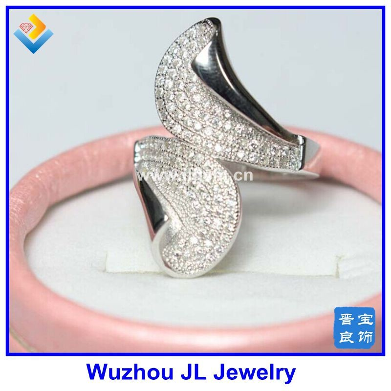 European Style 925 Sterling Silver Exaggeration Party Ring Micro CZ Setting Fashion Ring