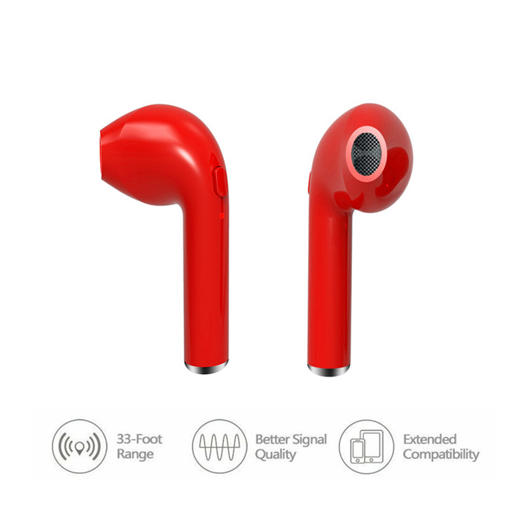 Free Sample Fashion True Wireless Bluetooth i7 Earphone with Microphone for iPhone