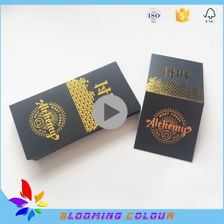High end custom black card paper hang tag with gold foil