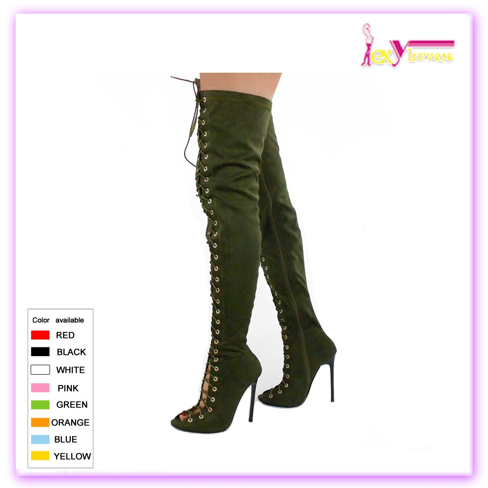 fa7087d6bd Alibaba Hotsale Sexy Womens Faux Suede Green Lace Up Open Toe Green Thigh  High Boots