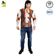 adult men's Buccanneer costume pirate halloween long sleeve 3d printing t-shirt