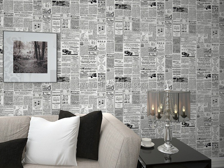 ... Vintage English Letter Textured Wall Paper Newspaper Wallpaper Roll