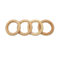 Wholesale Eco-friendly Natural Wooden Teether Ring High Quality 50mm Ring DIY Necklace Rings Components