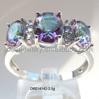 Zircon Stone Silver Ring Mystic Topaz Ebay Ring, Silver Fashion Jewelry Accepted By paypal