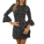 Fashion Women Ladies Sexy Long Sleeve Round Neck Boho Casual Floral Printed Mini Dress