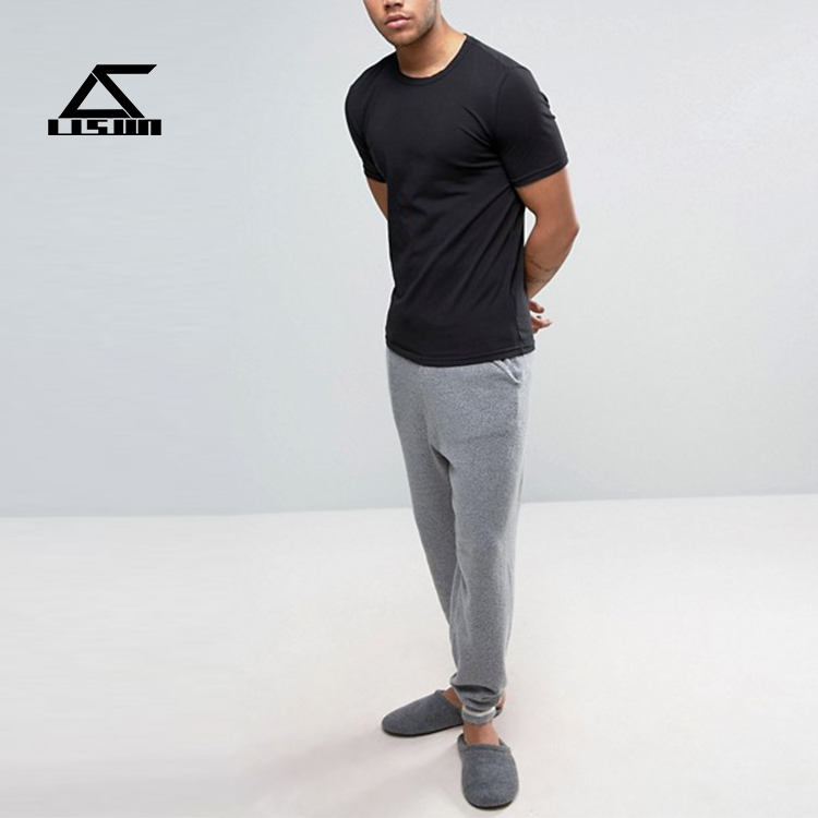 Hot sale black o neck men high quality 95 cotton /5 elastane t-shirt