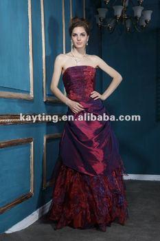 Prom Dress Red Tube Evening Dress Burgundy Evening Dress Ball Gown ...