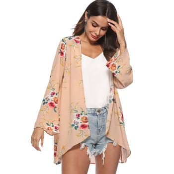 1129cb8df1 2018 Wholesale womens new fall design chiffon fabric soft floral print open  long length cardigan tops