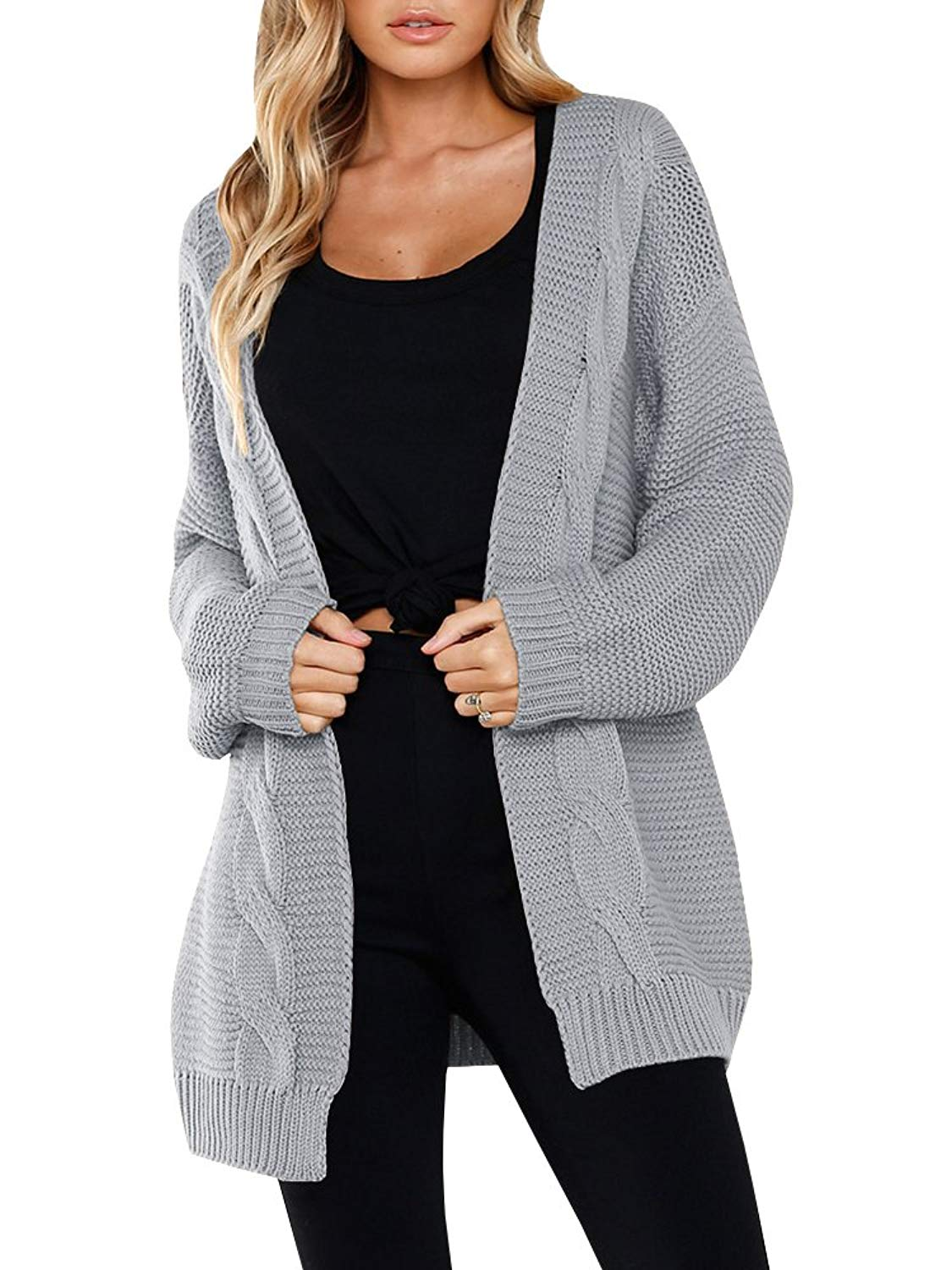 Mafulus Womens Cardigans Open Front Long Sleeve Cable Knit Chunky Cardigan Sweaters