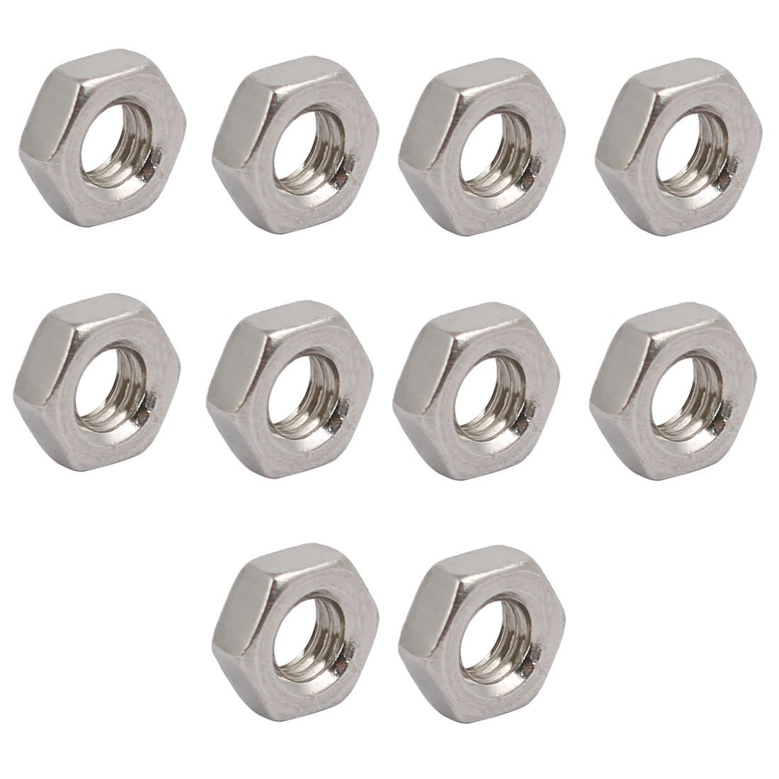 uxcell 10pcs M4 x 0.7mm Pitch Metric Thread 304 Stainless Steel Left Hand Hex Nuts
