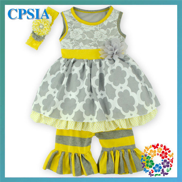 a02a53aaf243 Baby Girl Boutique Outfit Grey Floral Ruffle Pants Set Spring Summer ...