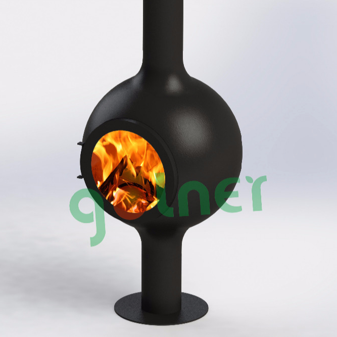 Wood burning suspended fireplace, wood stove german round fireplace insert